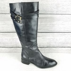 Franco Sarto Black Leather Knee High Riding Boots